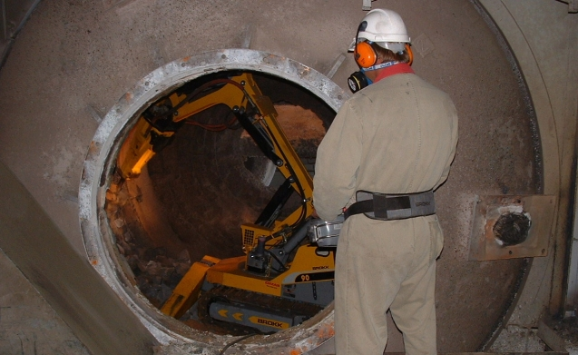 Remote demolition in kiln.